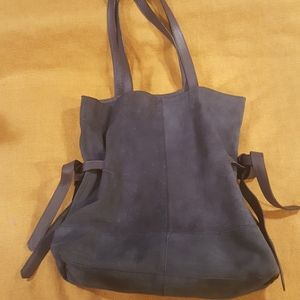 Topshop Blue Leather/Suede Tote